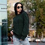 Женский свитер свободного кроя с элементами вязки коса (в расцветках), фото 8