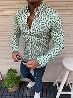 Мужская рубашка зеленая с белым с длинным рукавом