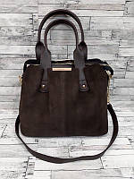 Женская комбинированная сумка Коричневая