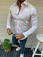 Мужская рубашка с длинным рукавом белая с сердечками