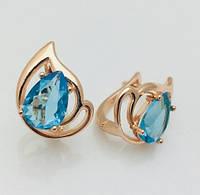 Серьги Fallon голубая капля позолота 18К