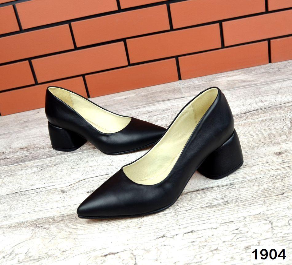 Шикарные кожаные туфли на каблучке 36-40 р чёрный
