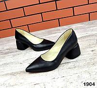 Шикарные кожаные туфли на каблучке 36-40 р чёрный, фото 1