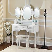 Белый туалетный и косметический столик GIOSEDIO DTW2 + табурет