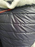 Стеганная ткань плащевка для пошива верхней одежды куртки жилетки ширина 150 см полоска цвет темно-синий, фото 1