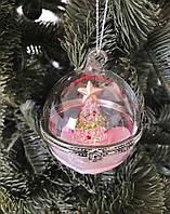 Новогодние украшения Шар-шкатулка белый, в ассортименте LED подсветка 6см 1 шт.