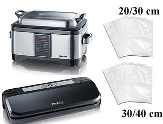Вакуум - варочный аппарат SEVERIN SOUS-VIDE 2447 + вакуумный упаковщик 3609 + мешки