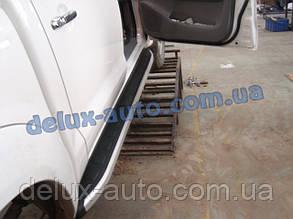 Боковые пороги площадки алюминиевые elegant на Toyota Hilux 2007+ Пороги площадки на Тойота Хайлюкс 2007-2011
