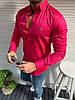 Мужская рубашка в стиле Lacoste с длинным рукавом красмная