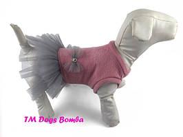 Платье для собак, розовое с бантом
