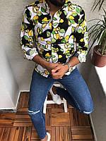 Мужская рубашка с длинным рукавом с цветочками
