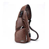 Мужской спортивный мини-рюкзак, РU 3 цвета + Наушники + Кабель Светло-коричневый