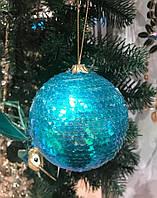 Новогодние украшения шары бирюза/синий, в ассортименте, 8 см