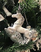 Новогоднее украшения Единороги, в ассортименте, белый/серебро, 10 см