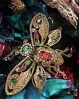 Новогоднее украшение Летящий жук из проволоки, на клипсе, золото, 20 см