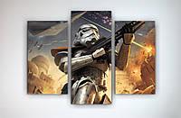 Настенный декор в интерьер для фаната Звездные войны Star Wars Штурмовик 90х60 из 3х модулей