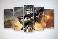 Картина модульная печать на холсте Звездные войны Star Wars 125х70 из 5 частей