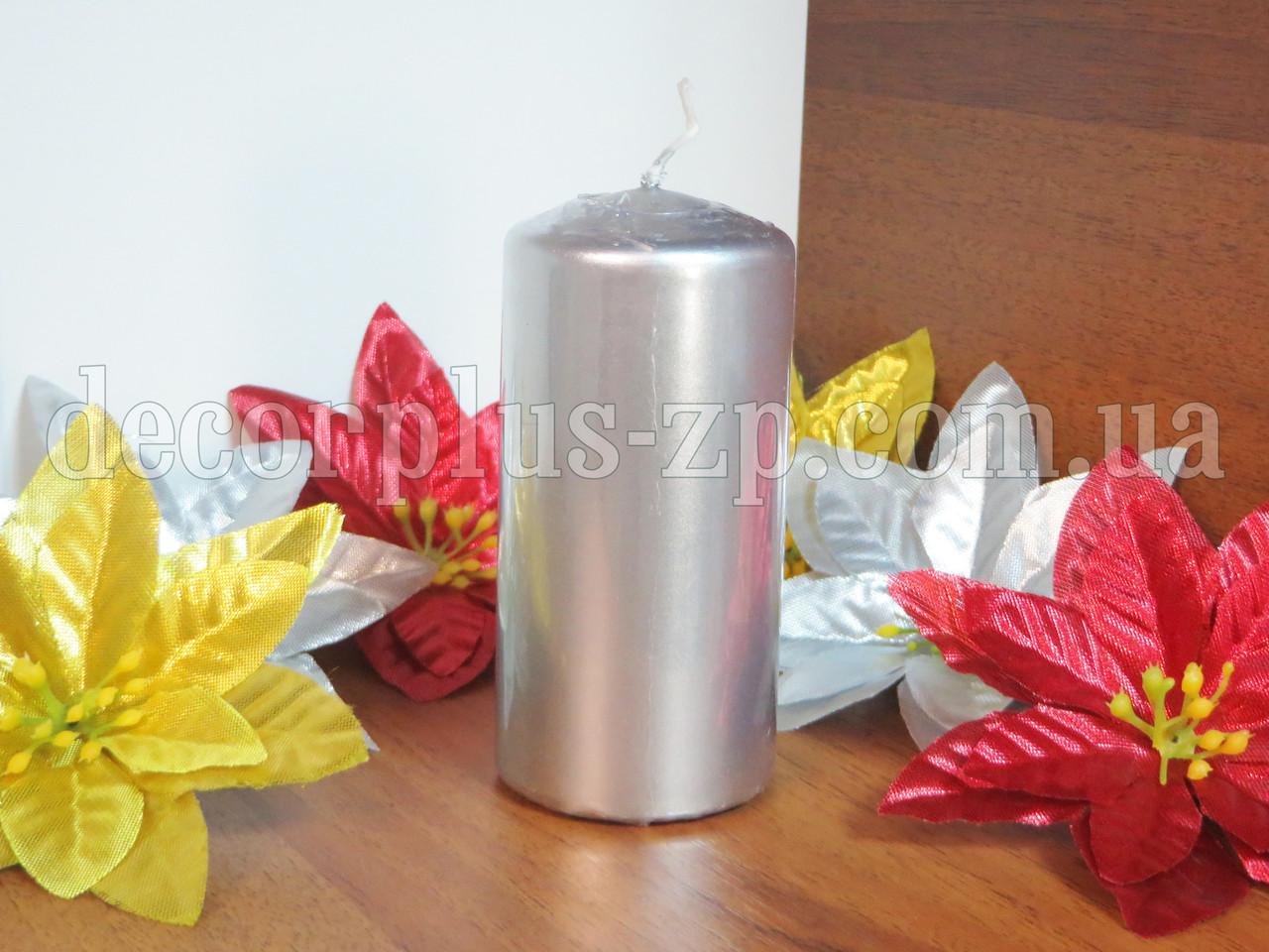 Свеча декоратив. цилиндр 10*5см, серебро