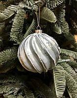 Новогоднее украшение Рождественский шар, линии, зелёный 10 см