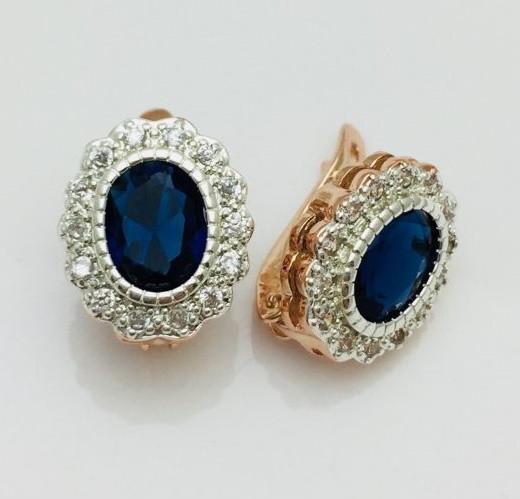 Серьги Fallon Моно синие, позолота 18К + родий