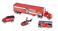 Машинки игрушечные пожарные набор  Same Toy SQ80958-4Ut