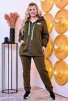Теплый спортивный костюм женский Трехнитка  на флисе Размер 52 54 56 58 60 62 В наличии 7 цветов, фото 1