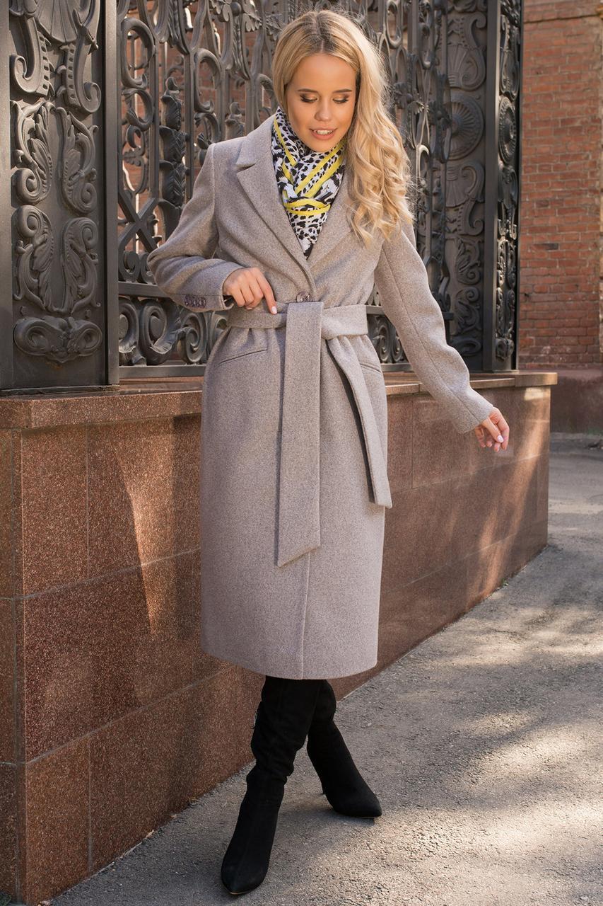 Женское пальто макси прямого кроя (S, M, L) серо-розовое