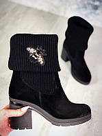 Женские ботинки с отворотом в черном цвете, из натуральной замши (в наличии и под заказ 4-12 дней)