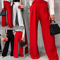 Женские широкие удлиненные брюки классические черные красные белые джинс S-M M-L