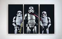 Картина модульная на холсте для фаната Черно-белая Звездные войны Star Wars Штурмовик 90х60 из 3х ч