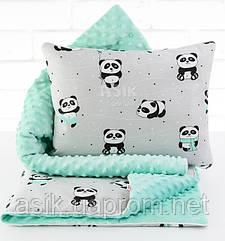 Плед и подушка с пандами в мятных чашках серо-мятного цвета
