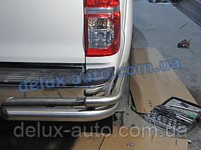 Защита заднего бампера уголкидвойные D70-42 Toyota Hilux 2007+ Задние углы двойные для Тойота Хайлюкс 2007+