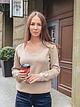 Женский стильный базовый джемпер/свитер с V-образной горловиной (в расцветках), фото 5