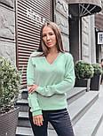 Женский стильный базовый джемпер/свитер с V-образной горловиной (в расцветках), фото 10