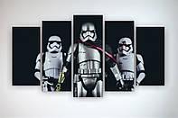 Картина модульная печать на холсте Черно-белая Звездные войны Star Wars Штурмовики 125х70 из 5 часте