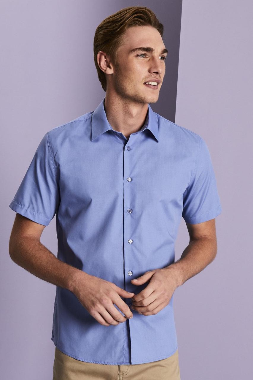 Рубашка для официанта мужская голубая с коротким рукавом Atteks - 02315
