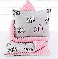 Плед и подушка с пандами в розовых чашках серо-розового цвета