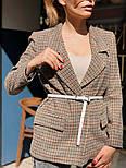 """Женский стильный пиджак в клетку и """"гусиную лапку"""" шерстяной твид (в расцветках), фото 7"""