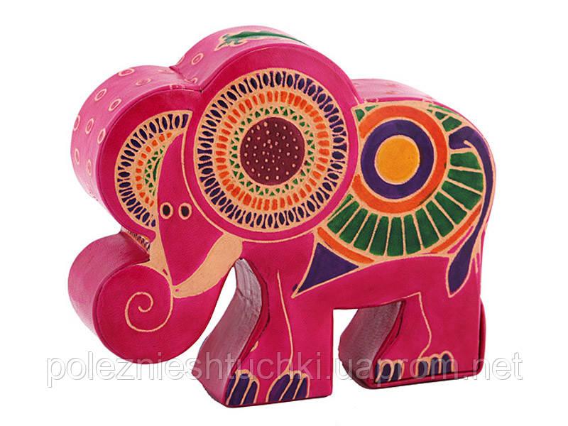 "Копилка из кожи 16Х14 см. ""Слон розовый"""