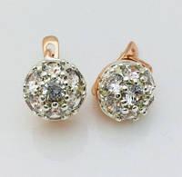 Серьги Fallon миниатюрные в камнях, позолота 18К