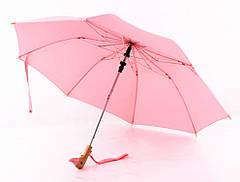 Зонт с деревянной ручкой голова утки (Розовый)