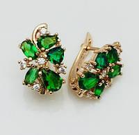 Серьги Fallon Райские с зелеными камнями