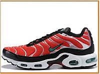 Мужские кроссовки Nike Air Max Tn Plus Red White Black (найк аир макс тн плюс, красные / белые / черные)