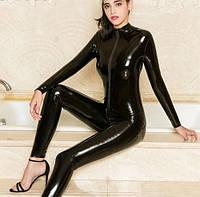 Сексуальное виниловый, лаковый комбинезон с рукавами, черный, фото 1