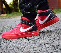 Nike Air Force 1 красные High, фото 1