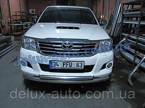 Защита переднего бампера труба двойная Toyota Hilux 2007+ Труба дуга двойная D70-42 для Тойота Хайлюкс 2007+