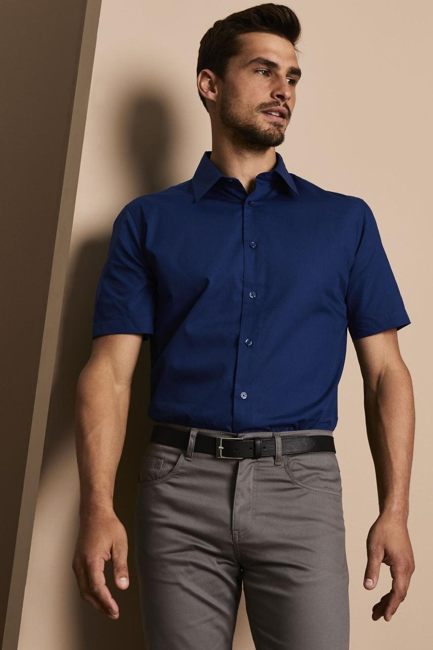 Рубашка для официанта мужская темно-синяя с коротким рукавом Atteks - 02319