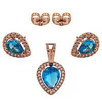 Комплект — позолота, сережки+кулон, блакитні краплі
