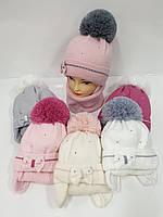Детские утепленные вязаные шапки оптом с шарфом, завязками и помпоном для девочек, р.48-50, Agbo (Польша), фото 1