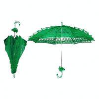 Зелёный кружевной, ажурный свадебный зонт от солнца.